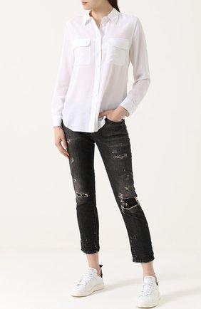 Укороченные джинсы с потертостями Faith Connexion черные | Фото №1