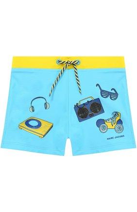 Плавки-шорты с принтом и контрастным поясом | Фото №1