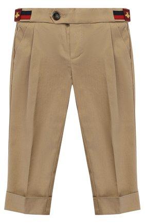Детские хлопковые брюки чинос с нашивками и эластичной вставкой на поясе GUCCI хаки цвета, арт. 452616/XBA44   Фото 1