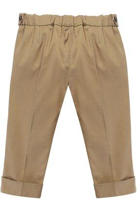 Детские хлопковые брюки чинос с нашивками и эластичной вставкой на поясе GUCCI хаки цвета, арт. 452616/XBA44   Фото 2