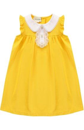 Хлопковое платье свободного кроя с декорированным воротником и оборками | Фото №1