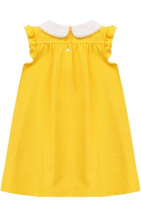 Хлопковое платье свободного кроя с декорированным воротником и оборками | Фото №2