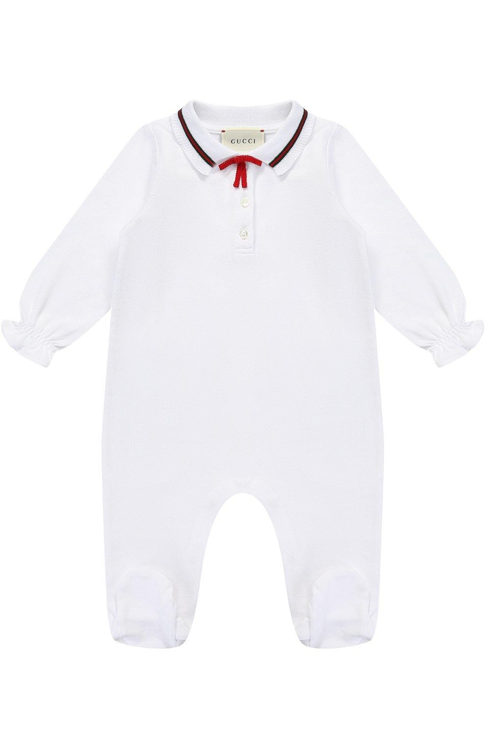 Детский пижама из эластичного хлопка с контрастной отделкой и бантом GUCCI белого цвета, арт. 458206/X5N22 | Фото 1