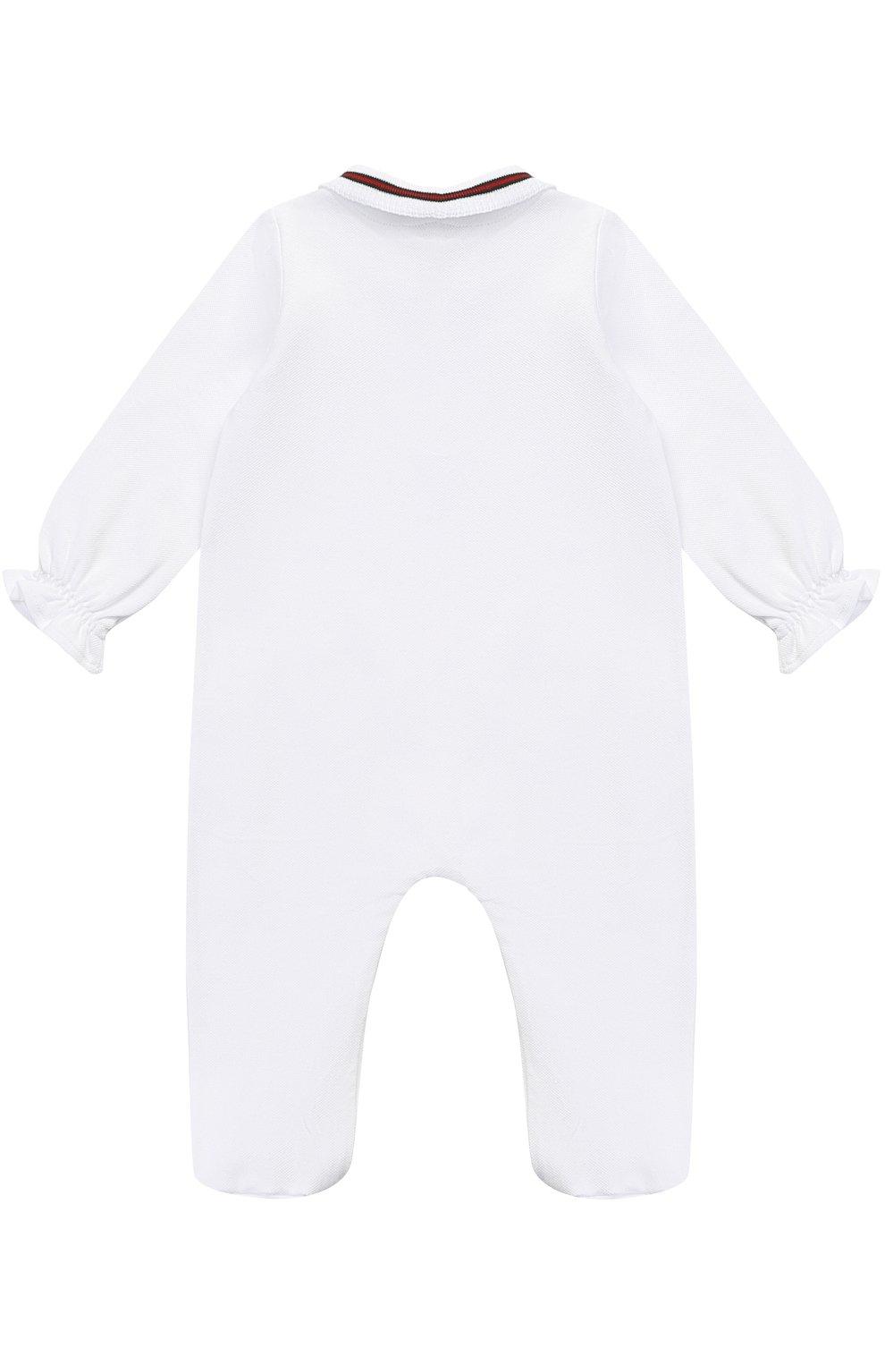 Детский пижама из эластичного хлопка с контрастной отделкой и бантом GUCCI белого цвета, арт. 458206/X5N22 | Фото 2