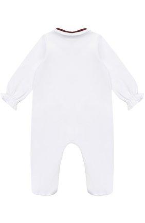 Пижама из эластичного хлопка с контрастной отделкой и бантом | Фото №2