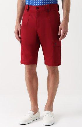 Хлопковые шорты с накладными карманами Dolce & Gabbana красные | Фото №3