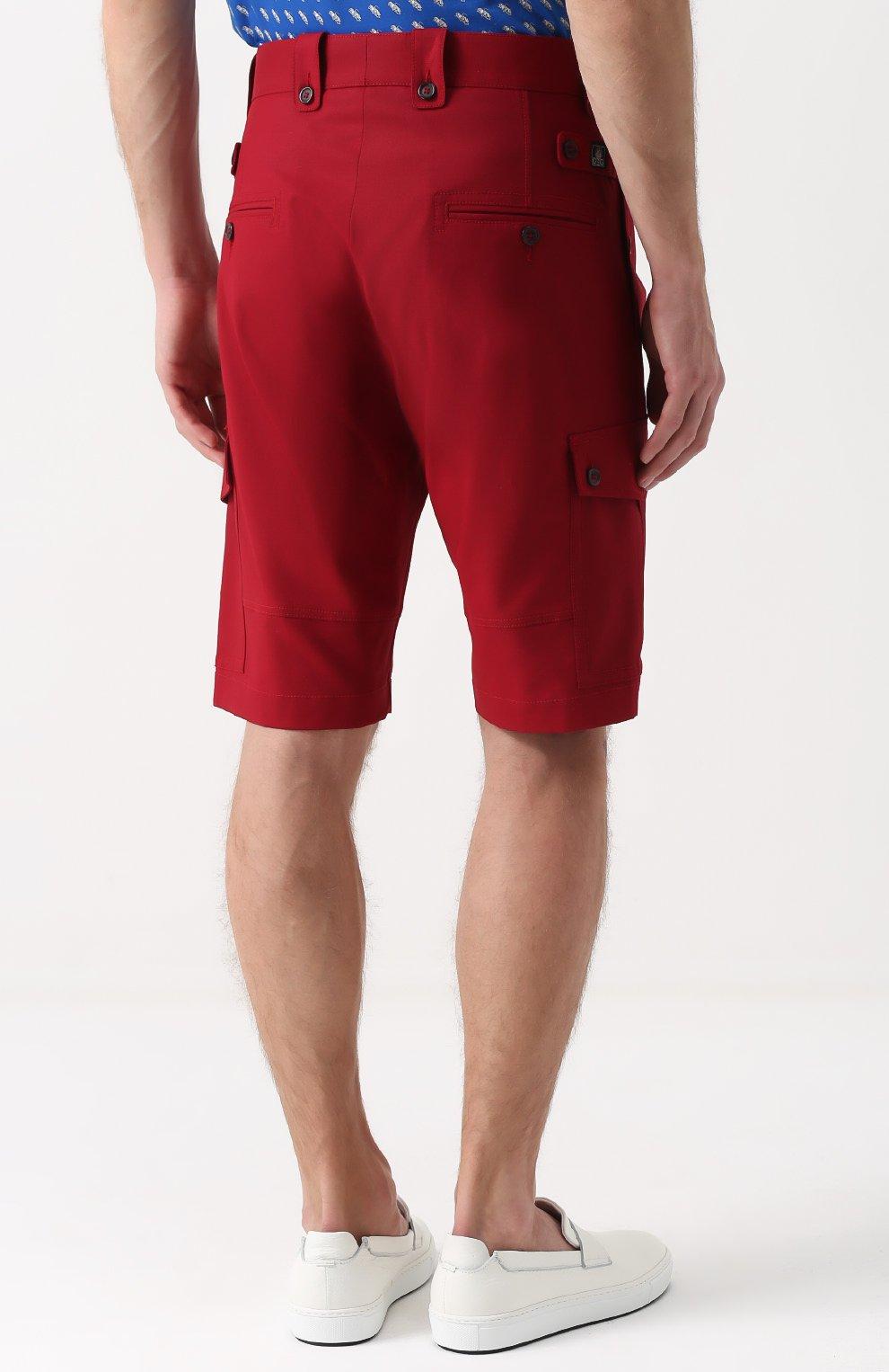 Хлопковые шорты с накладными карманами Dolce & Gabbana красные | Фото №4