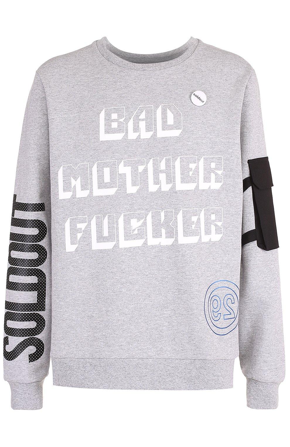 Хлопковый пуловер с принтом и значком | Фото №1