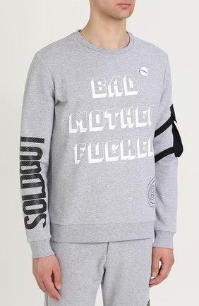 Хлопковый пуловер с принтом и значком | Фото №3
