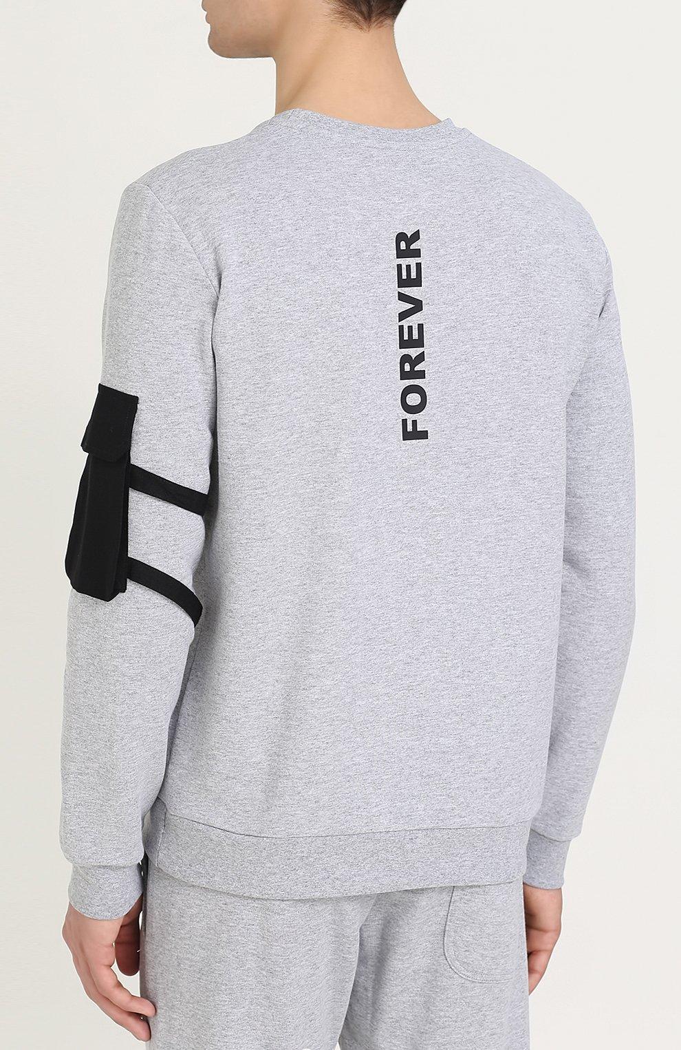 Хлопковый пуловер с принтом и значком | Фото №4