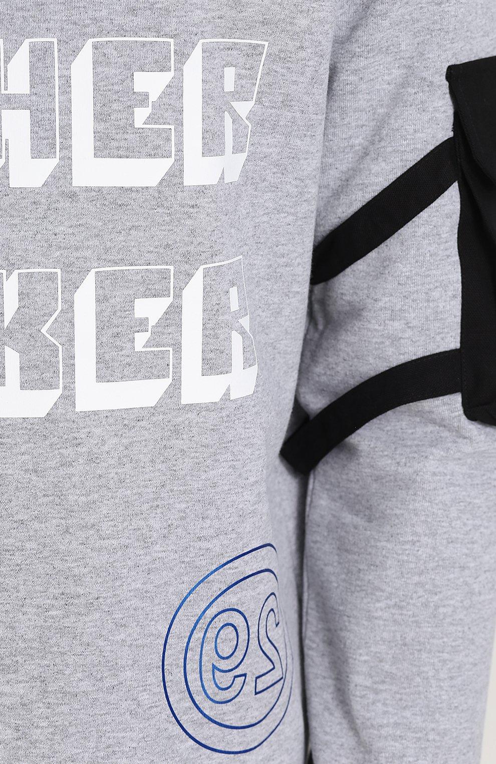 Хлопковый пуловер с принтом и значком | Фото №5