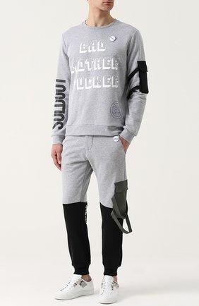 Хлопковый пуловер с принтом и значком Sold out серый | Фото №1