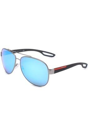 Женские солнцезащитные очки prada linea rossa PRADA серебряного цвета, арт. 55QS-DG15M2   Фото 1