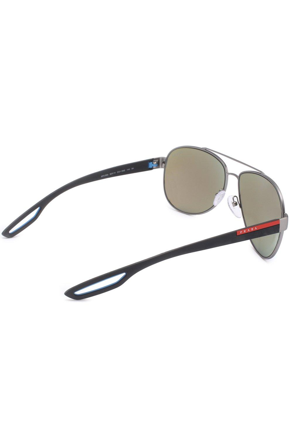 Женские солнцезащитные очки prada linea rossa PRADA серебряного цвета, арт. 55QS-DG15M2   Фото 3