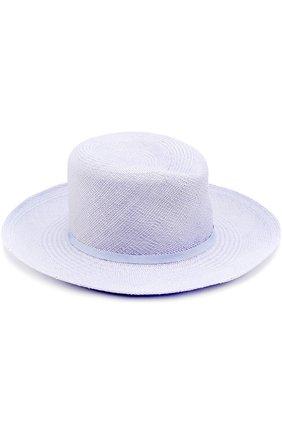 Соломенная шляпа с лентой Anthony Peto светло-голубого цвета   Фото №1