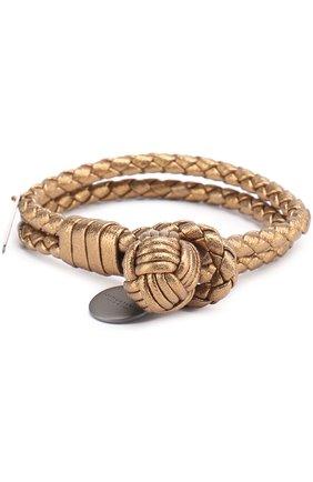 Кожаный браслет с плетением | Фото №1