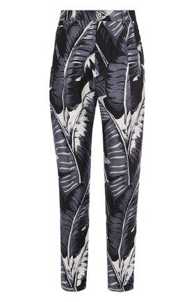 Шелковые брюки с принтом Dolce & Gabbana серые | Фото №1