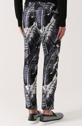 Шелковые брюки с принтом Dolce & Gabbana серые | Фото №4