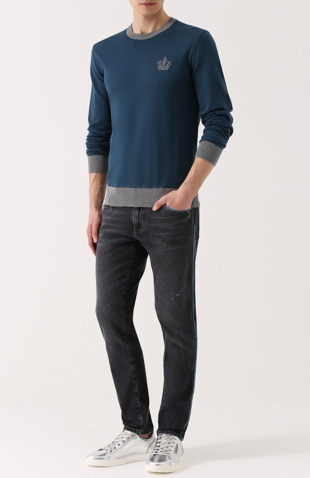 Хлопковый джемпер с вышивкой и контрастной отделкой Dolce & Gabbana синий | Фото №2