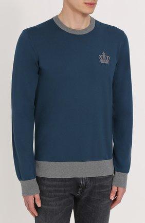 Хлопковый джемпер с вышивкой и контрастной отделкой Dolce & Gabbana синий | Фото №3