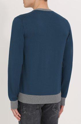 Хлопковый джемпер с вышивкой и контрастной отделкой Dolce & Gabbana синий | Фото №4