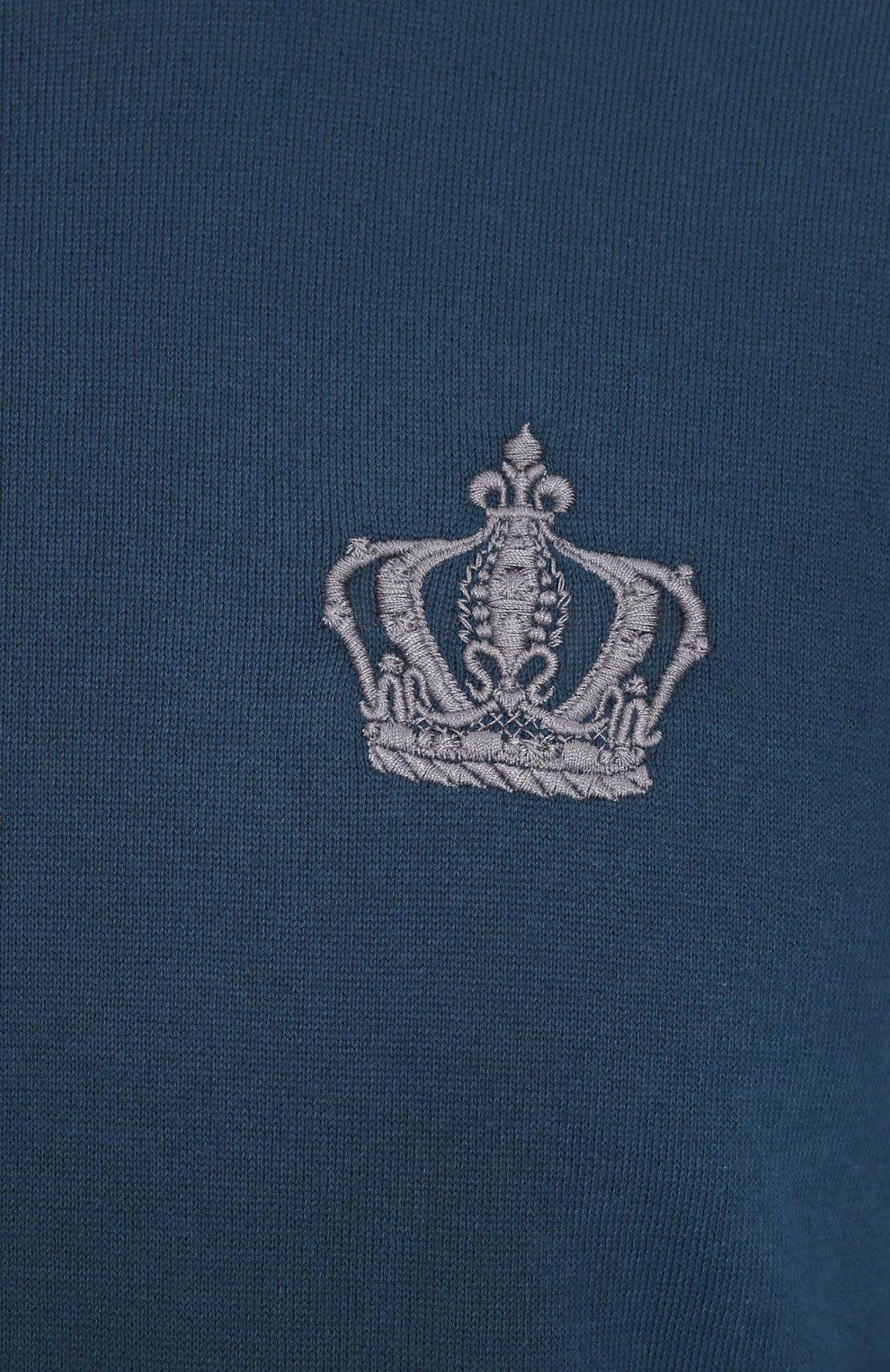 Хлопковый джемпер с вышивкой и контрастной отделкой Dolce & Gabbana синий | Фото №5