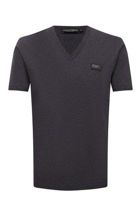 Хлопковая футболка с V-образным вырезом Dolce & Gabbana темно-серая | Фото №1