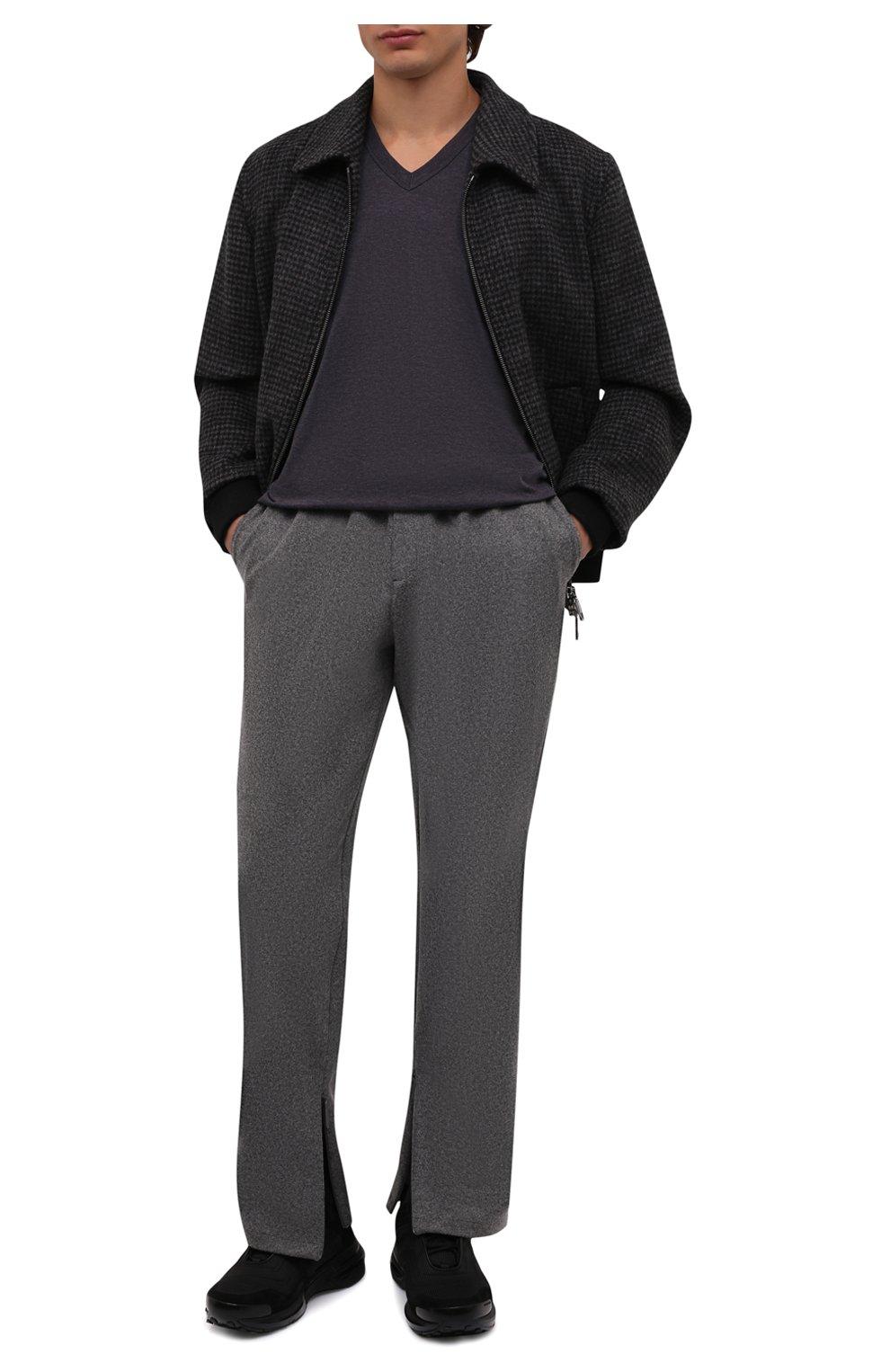 Хлопковая футболка с V-образным вырезом Dolce & Gabbana темно-серая | Фото №2