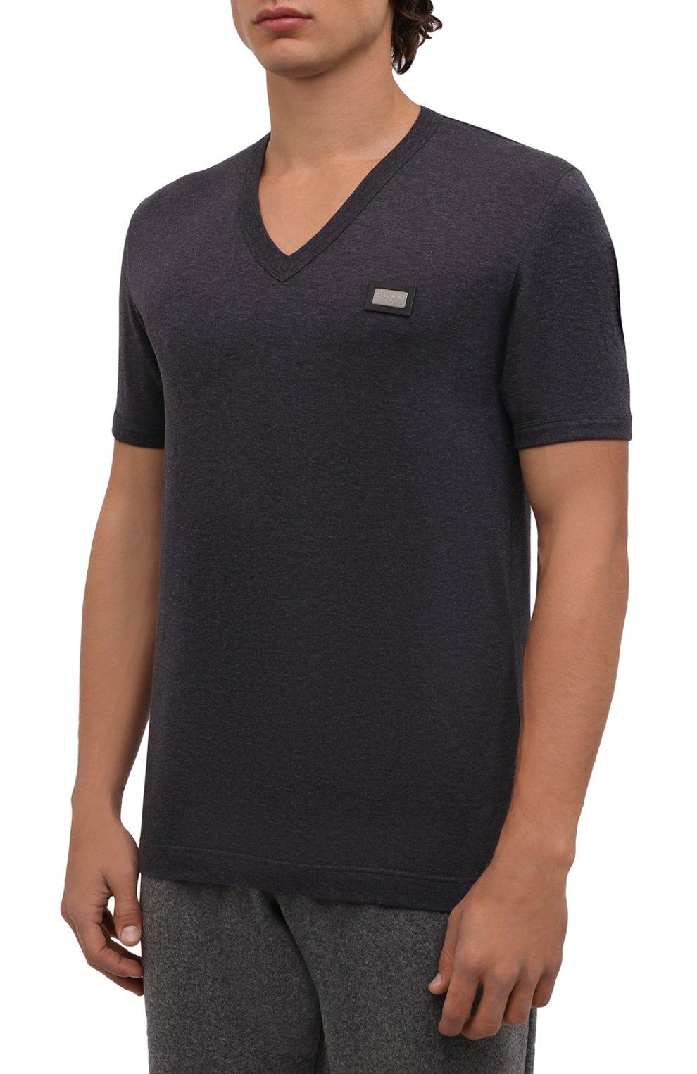 Хлопковая футболка с V-образным вырезом Dolce & Gabbana темно-серая | Фото №3