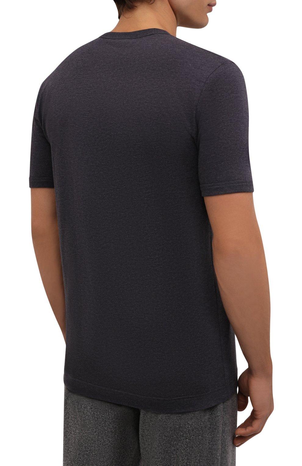Хлопковая футболка с V-образным вырезом Dolce & Gabbana темно-серая | Фото №4