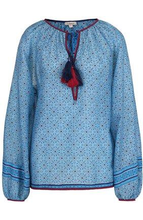 Блуза с принтом и контрастной отделкой | Фото №1