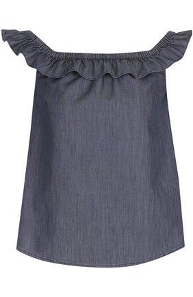 Джинсовый топ с оборкой и открытыми плечами Denim&Supply by Ralph Lauren синий   Фото №1