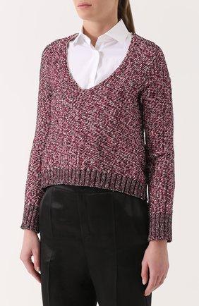 Пуловер фактурной вязки с V-образным вырезом | Фото №3