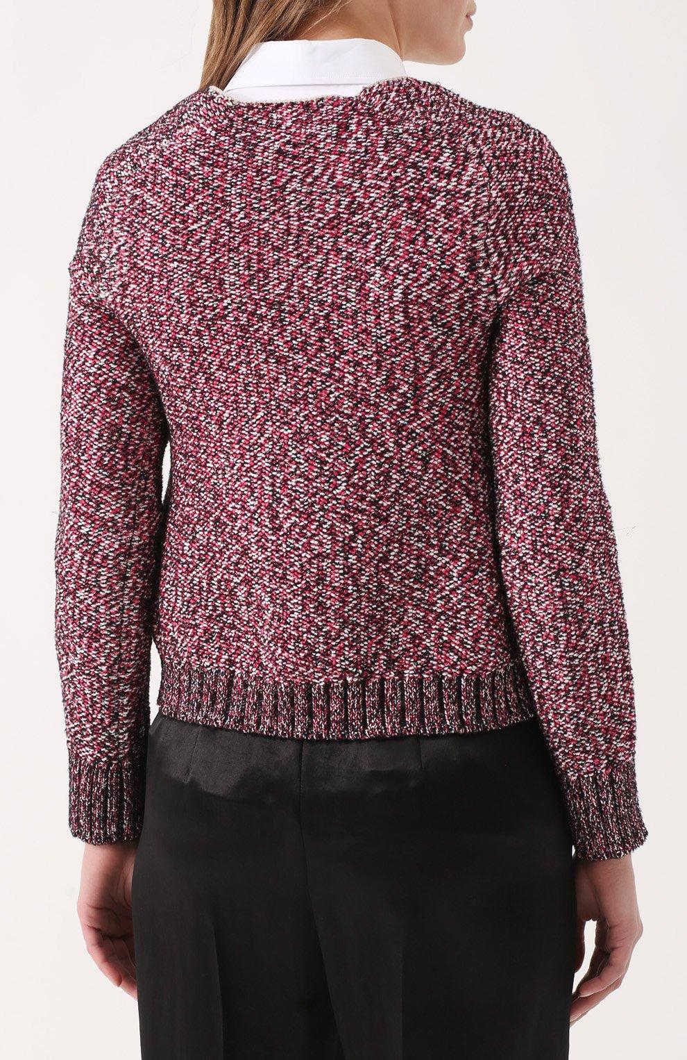 Пуловер фактурной вязки с V-образным вырезом | Фото №4