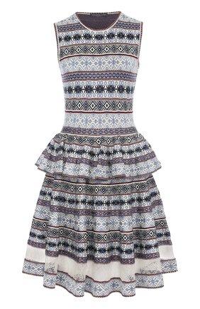 Платье-миди с принтом и баской | Фото №1
