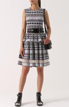 Платье-миди с принтом и баской | Фото №2