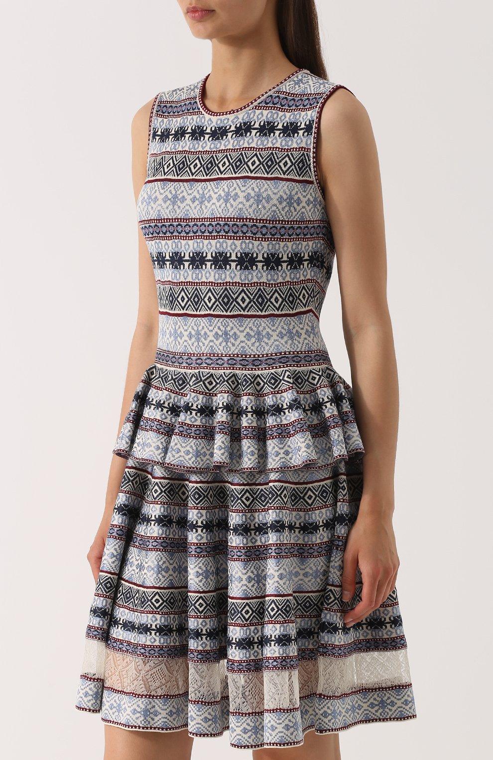 Платье-миди с принтом и баской | Фото №3