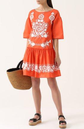 Платье с контрастной вышивкой и оборкой Blugirl оранжевое | Фото №1