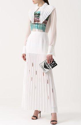 Платье-макси с плиссированной юбкой и принтом Marco de Vincenzo белое | Фото №1
