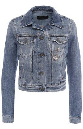 Укороченная джинсовая куртка с потертостями Dolce & Gabbana голубая | Фото №1
