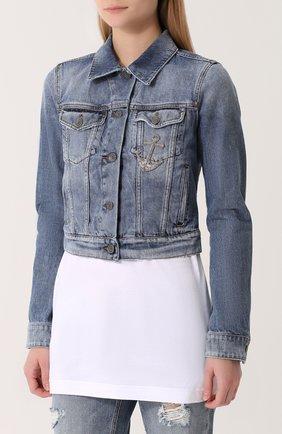 Укороченная джинсовая куртка с потертостями Dolce & Gabbana голубая | Фото №3