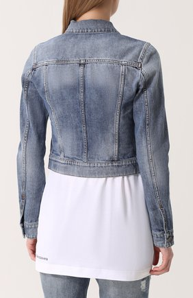 Укороченная джинсовая куртка с потертостями Dolce & Gabbana голубая | Фото №4
