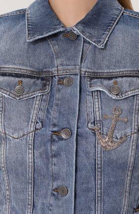 Укороченная джинсовая куртка с потертостями Dolce & Gabbana голубая | Фото №5