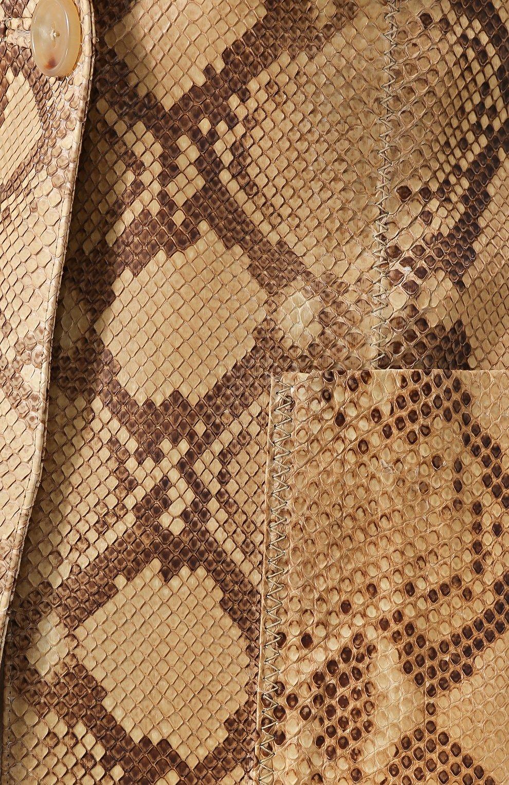 Приталенный жакет из кожи питона | Фото №5