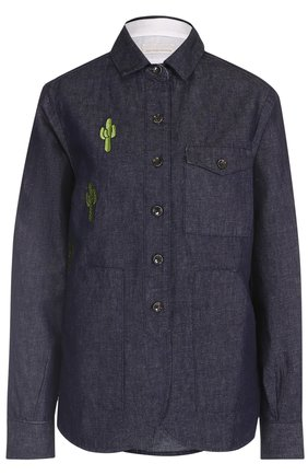 Женская джинсовая блуза прямого кроя с контрастной вышивкой Nine in the morning, цвет синий, арт. 9SS17-CA05 в ЦУМ | Фото №1
