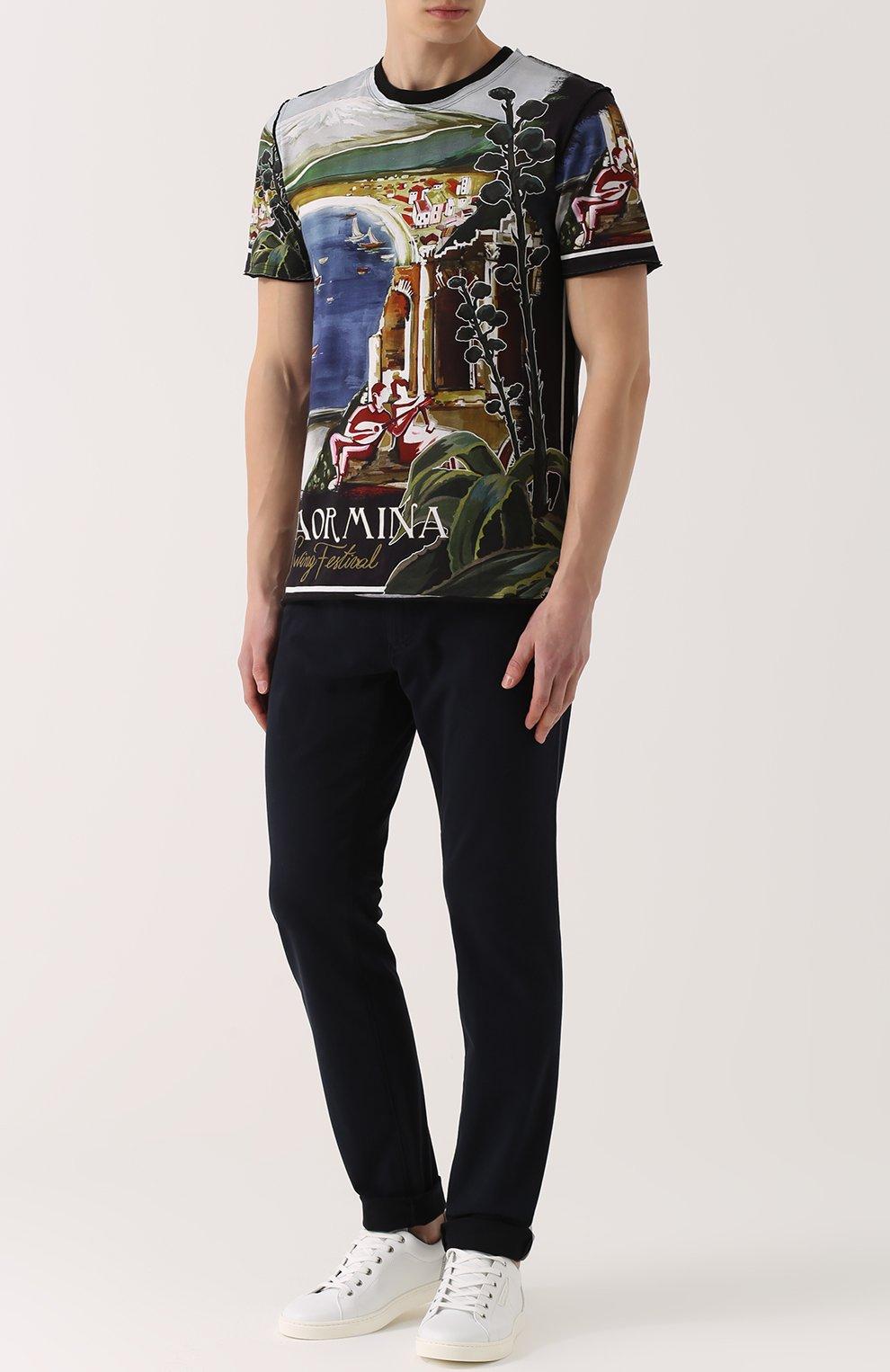 Джинсы прямого кроя из эластичного хлопка Dolce & Gabbana темно-синие | Фото №2