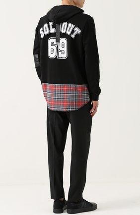 Хлопковые свитшот с принтом и декоративной отделкой Sold out черный | Фото №1