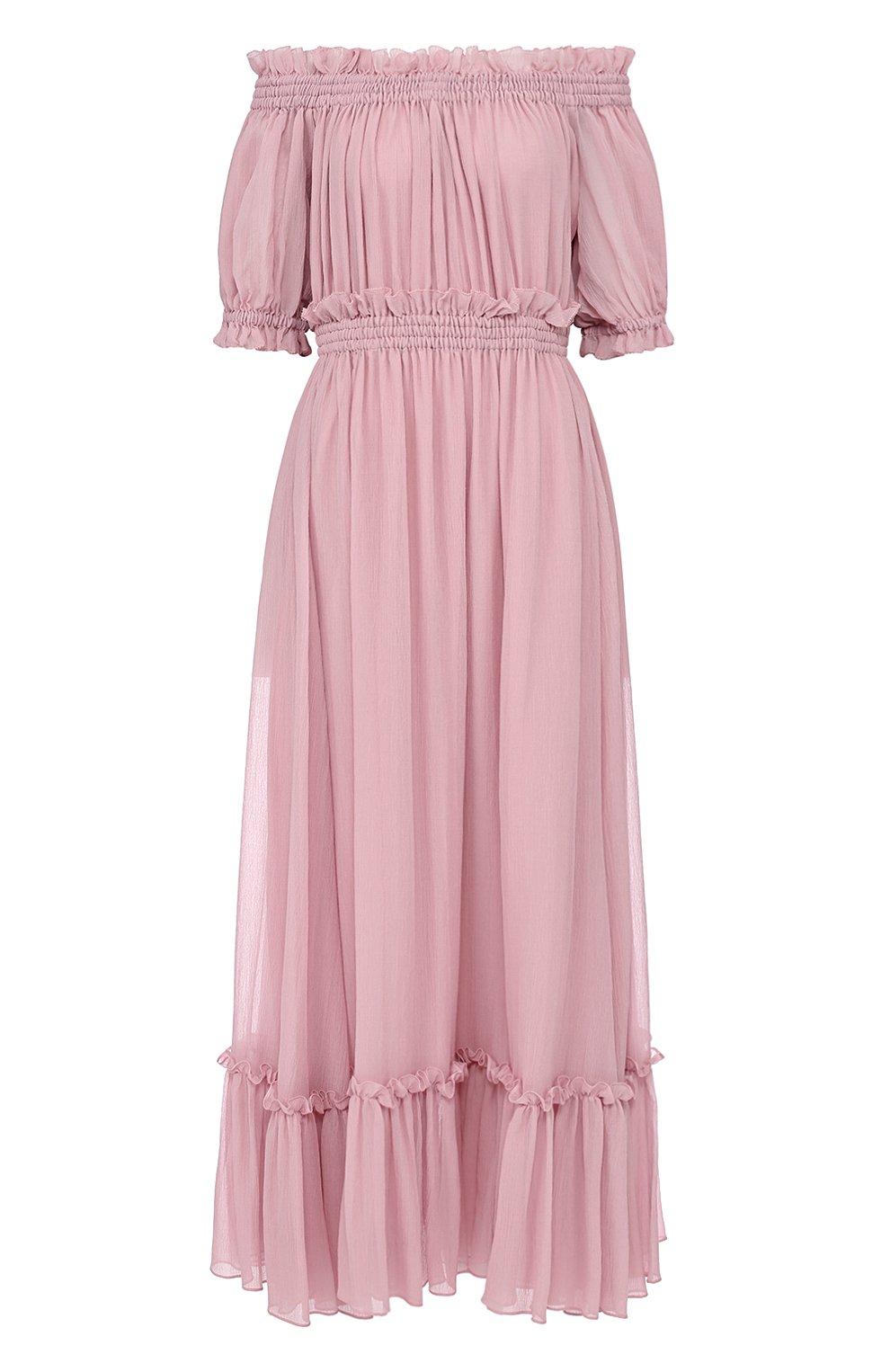 Шелковое платье с драпировкой и открытыми плечами Alexander McQueen розовое | Фото №1