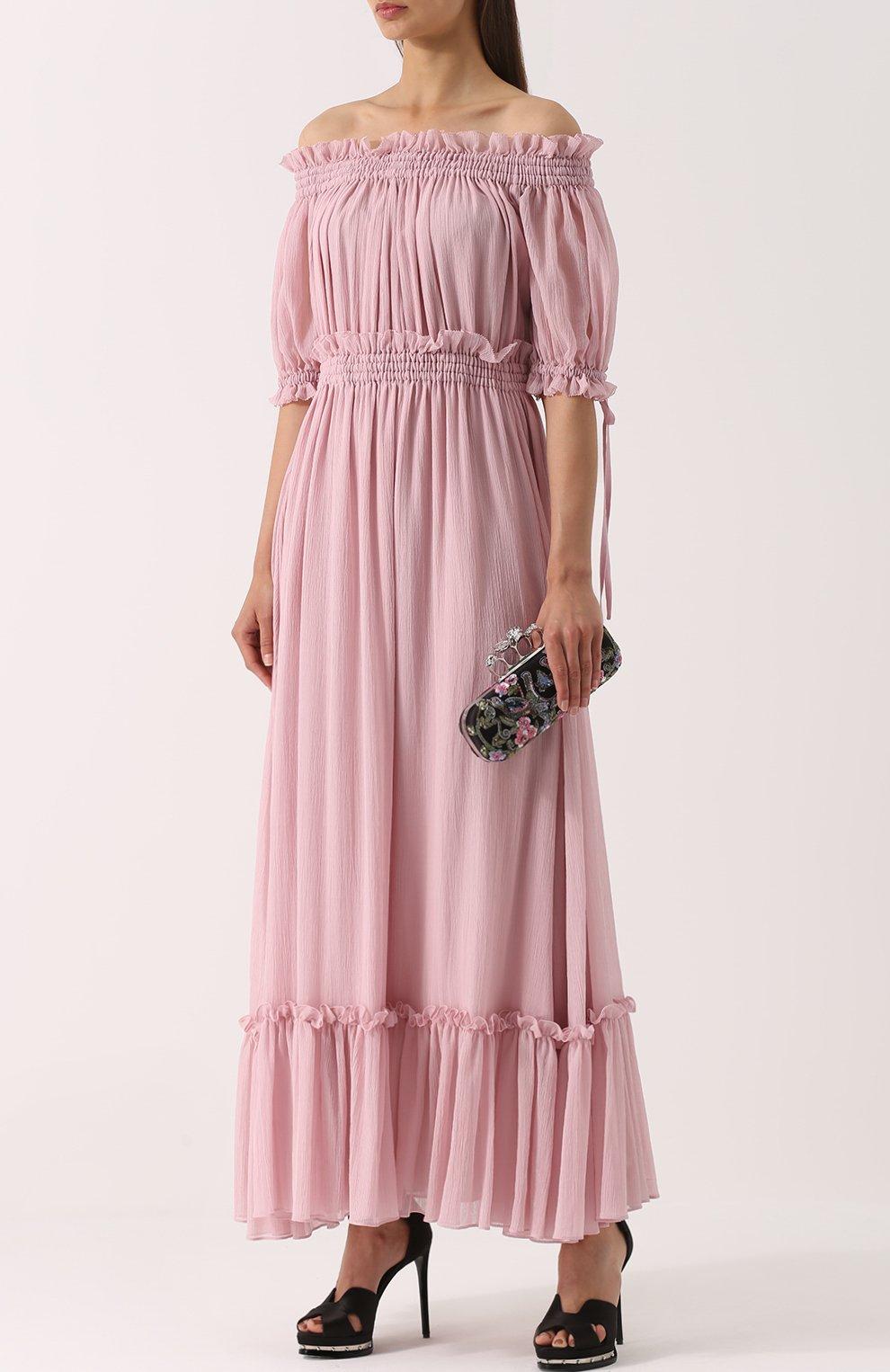Шелковое платье с драпировкой и открытыми плечами Alexander McQueen розовое | Фото №2