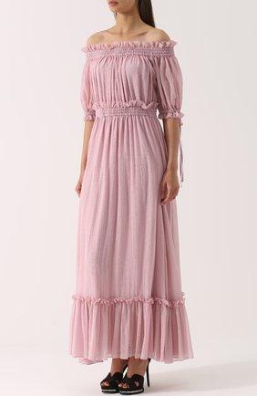 Шелковое платье с драпировкой и открытыми плечами Alexander McQueen розовое | Фото №3